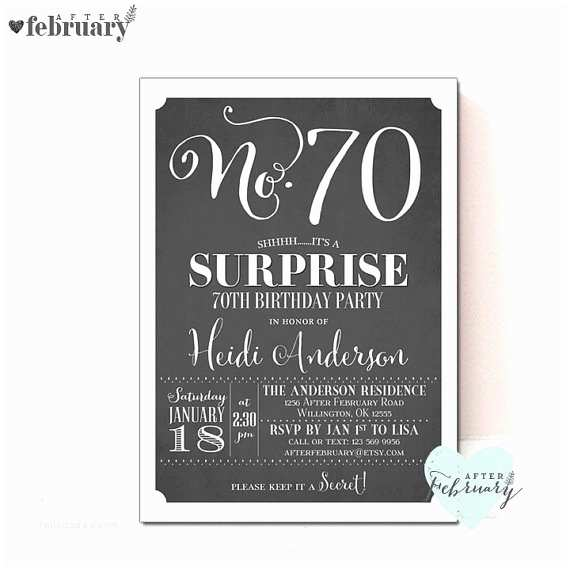70th Birthday Party Invitations A Cake