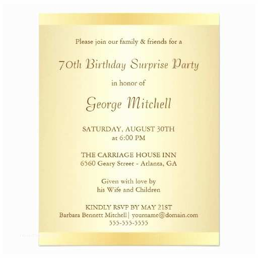 70th Birthday Party Invitations Surprise Gold