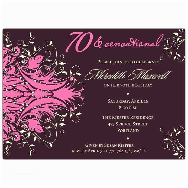 70th Birthday Party Invitations andromeda Pink 70th Birthday Invitations
