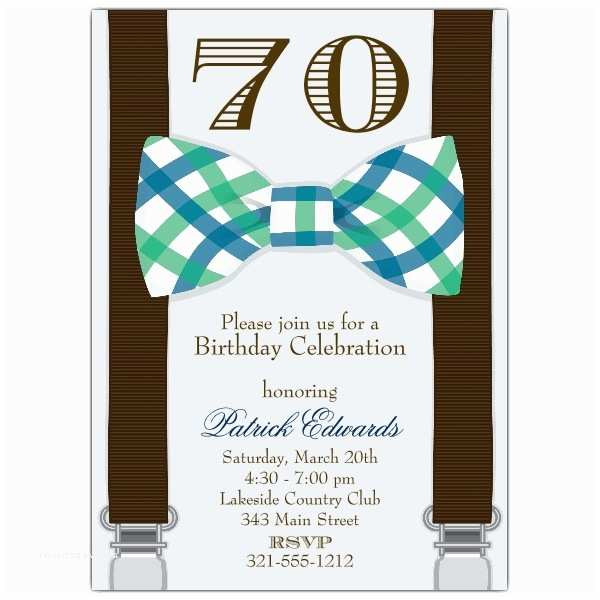 70th Birthday Party Invitations Bowtie 70th Birthday Invitations