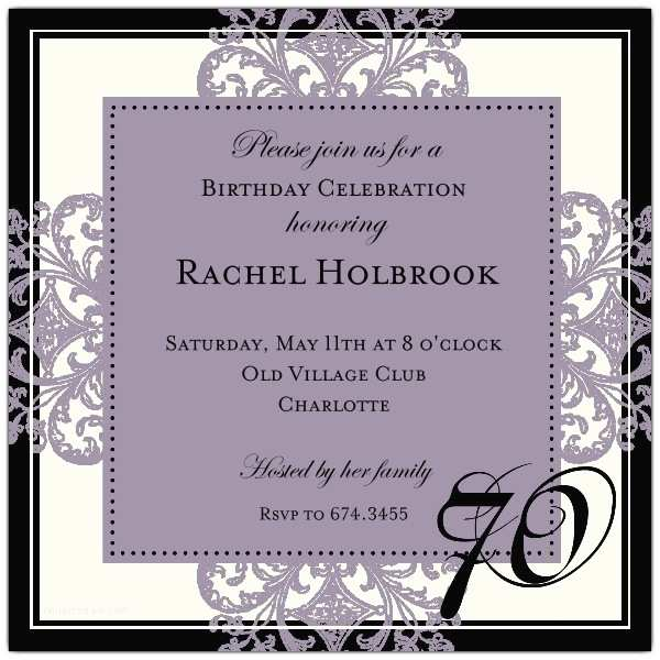 Decorative Square Border Pink 70th Birthday Invitations p 603 55 673 70