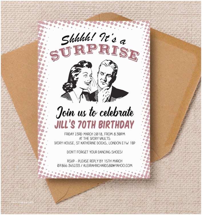 70th Birthday Party Invitations Retro Surprise La S 70th Birthday Party Invitation From