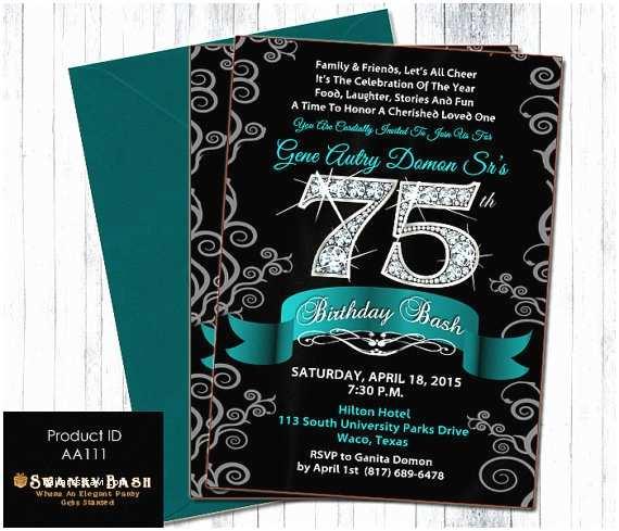 75th Birthday Invitations 75th Birthday Bash Diamond