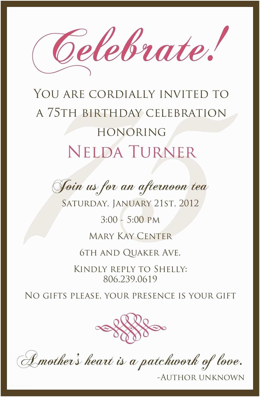 75th Birthday Invitations 75th Birthday Invitation Wording Samples Templates