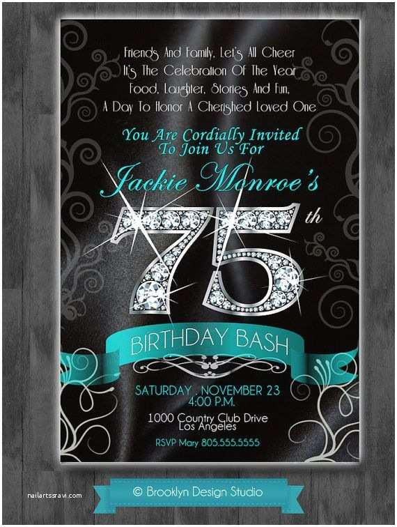 75th Birthday Invitations Bling Diamond Numbers On Black Satin Background and Any