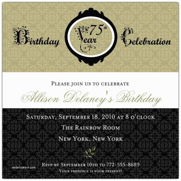 Damask 75th Birthday Invitations p 606 55