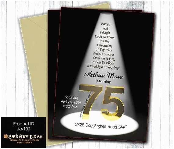 75th Birthday Invitations Elegant 75th Birthday Bash Spotlight Invitation By