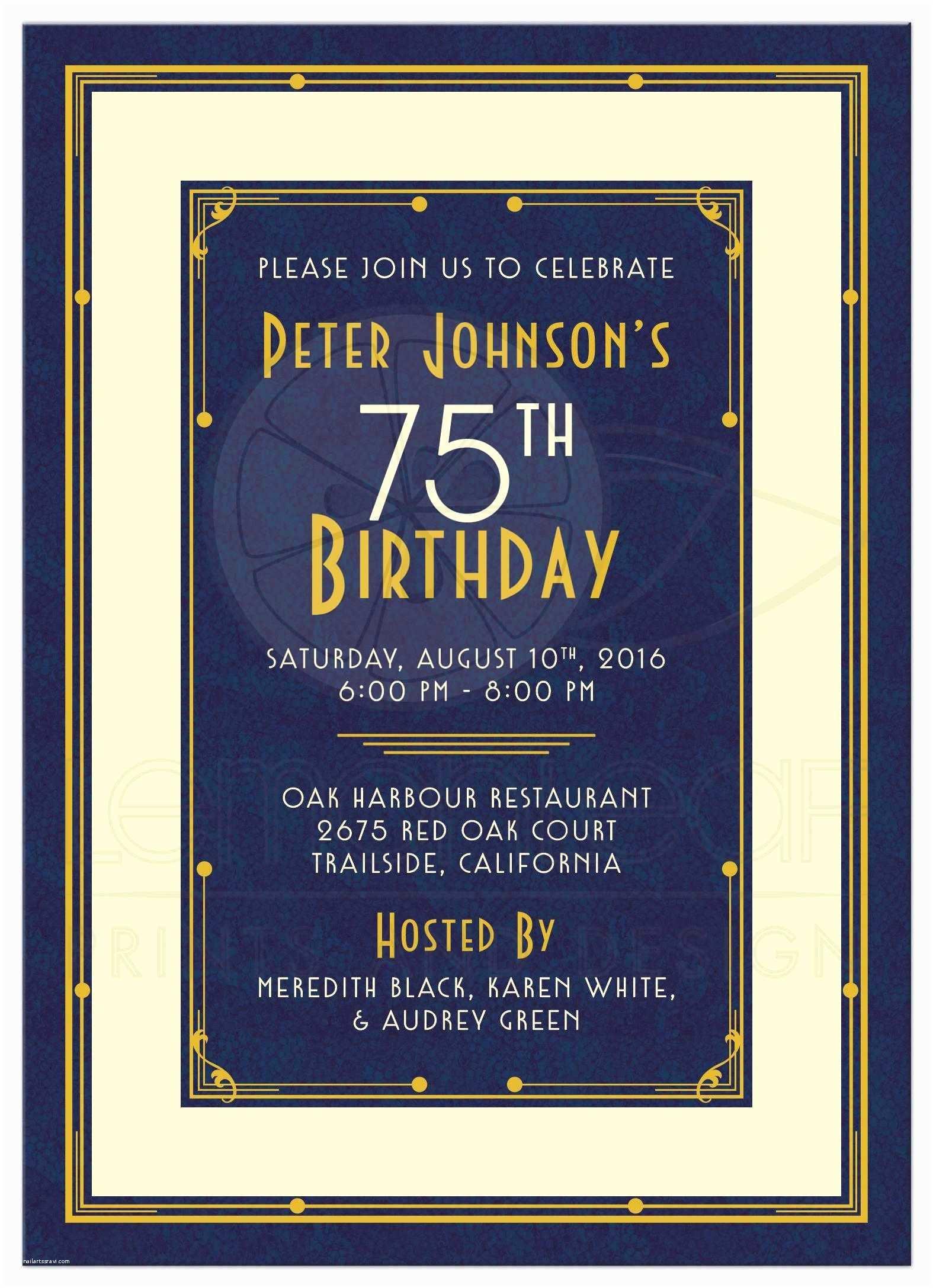 75th Birthday Party Invitations 16 75th Birthday Invitations Unique Ideas
