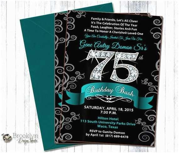 75th Birthday Party Invitations 30 35 40 45 50 55 60 65 70 75th Birthday Bash Diamond