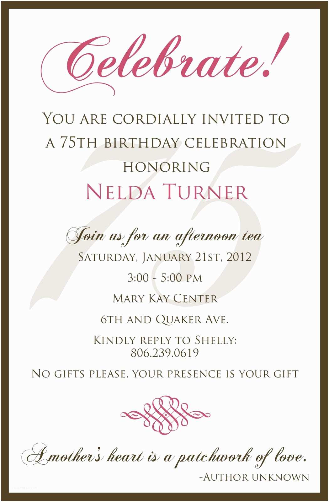 75th Birthday Party Invitations 75 Birthday Invitation