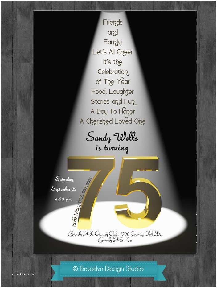 75th Birthday Party Invitations 75th Birthday Bash Custom Designed by Brooklyndesignstudio