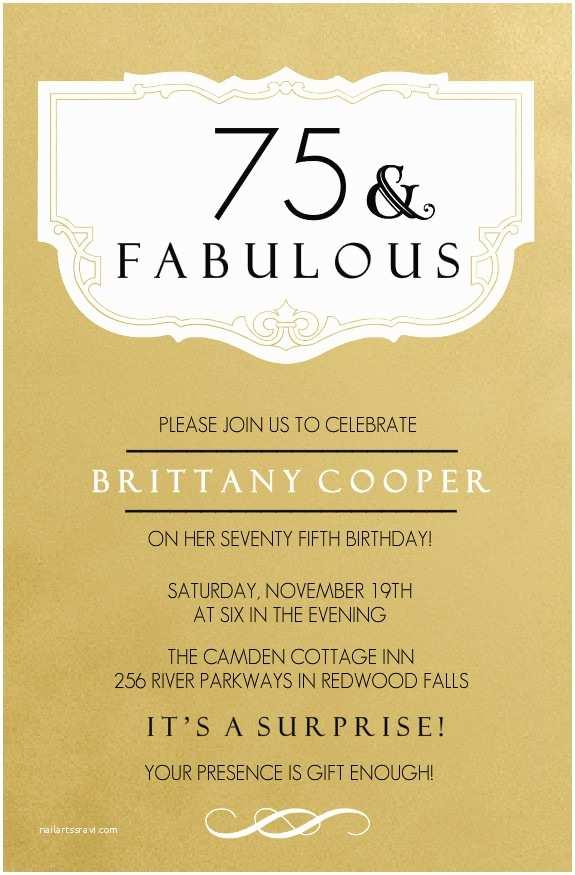 75th Birthday Party Invitations 75th Birthday Invitations Fabulous Gold 75th Birthday