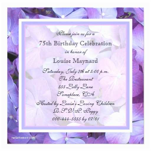 "75th Birthday Party Invitations 75th Birthday Party Invitation Hydrangeas 5 25"" Square"