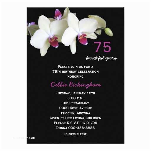 75th Birthday Party Invitations 75th Birthday Party Invitation orchids