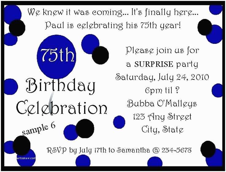75th Birthday Party Invitations 75 Birthday Invitation Nailartssravi