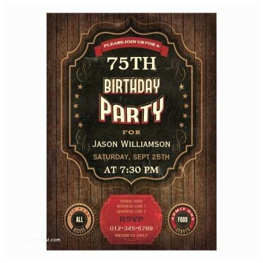 75th Birthday Party Invitations 75th Birthday Vintage Chalkboard & Wood Card