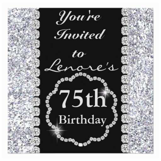 75th Birthday Party Invitations 75th Bling Birthday Party Invitation