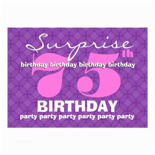 75th Birthday Party Invitations 75th Surprise Purple Birthday Party S454 5x7 Paper