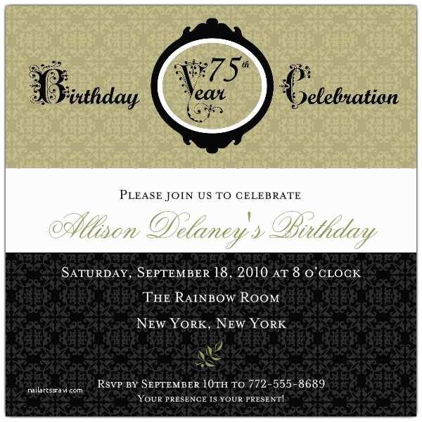 75th Birthday Party Invitations Damask 75th Birthday Invitations