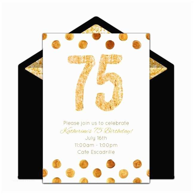 75th Birthday Party Invitations Free Golden 75 Invitations