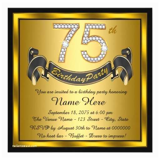 75th Birthday Party Invitations Gold 75th Birthday Party