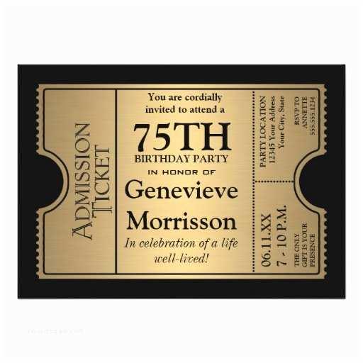 75th Birthday Party Invitations Golden Ticket Style 75th Birthday Party Invite