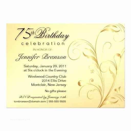 75th Birthday Party Invitations Personalized 75th Birthday Invitations