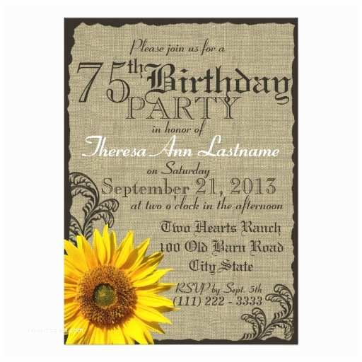 75th Birthday Party Invitations Western Sunflower Rustic 75th Birthday Invites