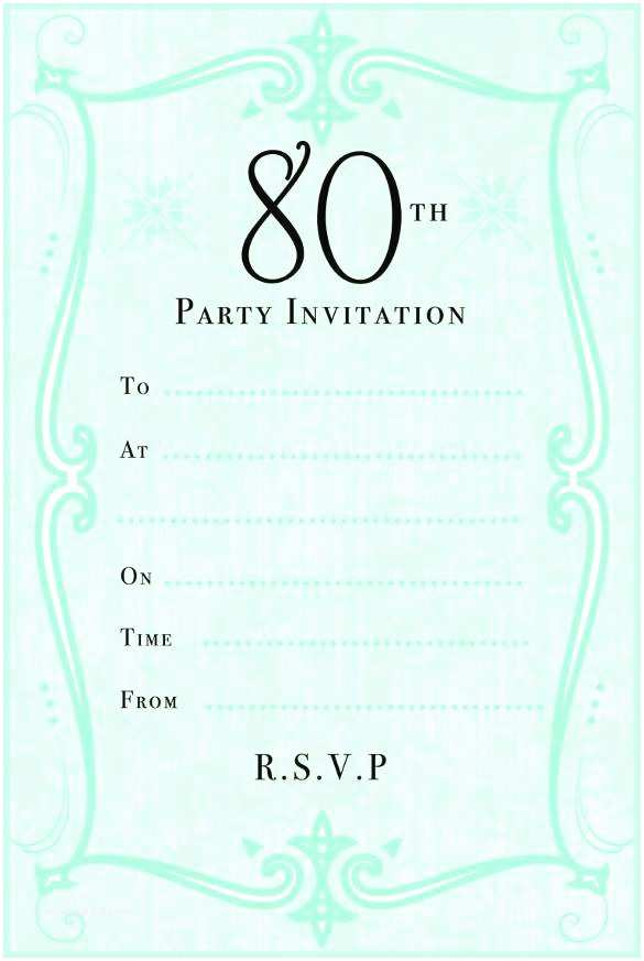 80 Birthday Invitations 10 Sample 80th Party