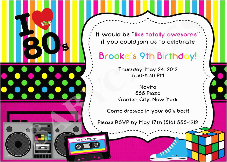 80s theme birthday invitation diy print