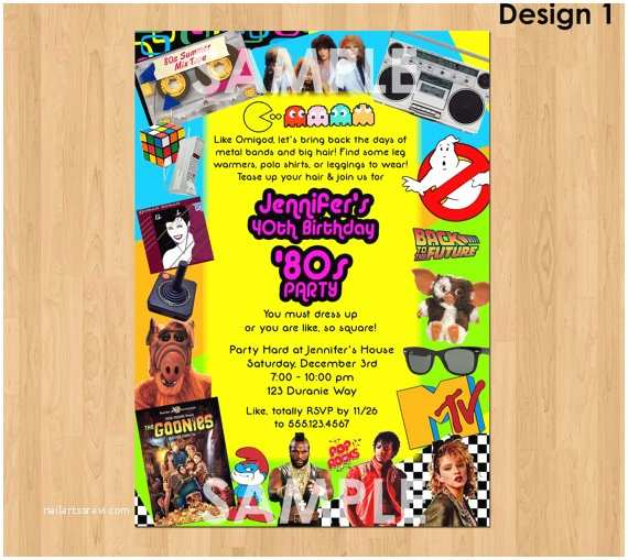80 birthday invitations 80s party invitation template 80s party