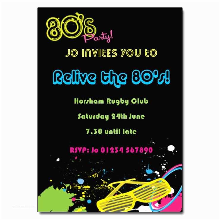 80 Birthday Invitations 80s Party Invitation