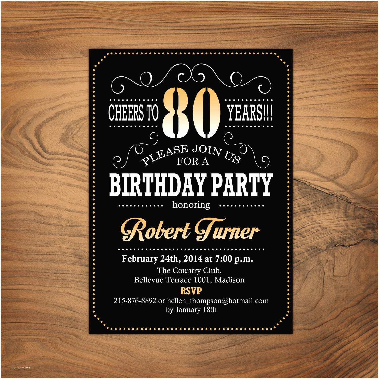 80 Birthday Invitations 80th Birthday Invitation Cheers to 80 Years Any Age Gold
