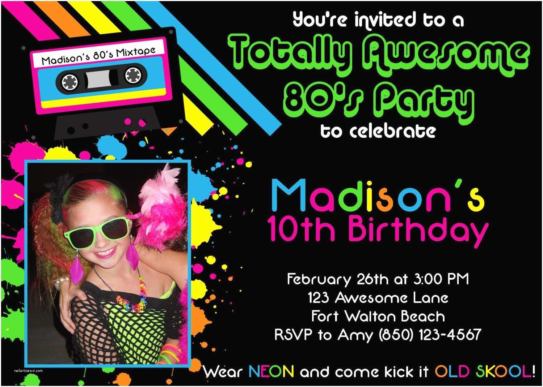 80 Birthday Invitations Awesome 80 S 5x7 Party Invitation Girl Birthday