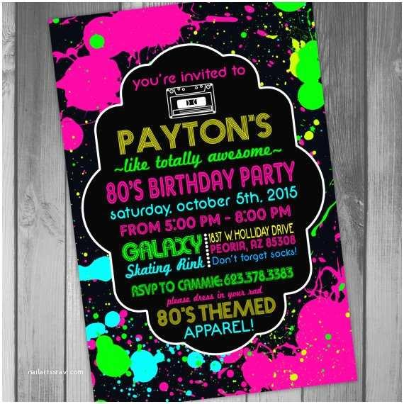 80 Birthday Invitations Birthday Party Invite 80s Birthday Party 80s Party by