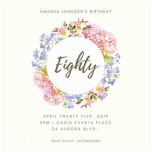 80 Birthday Invitations Customize 985 80th Invitation Templates Online
