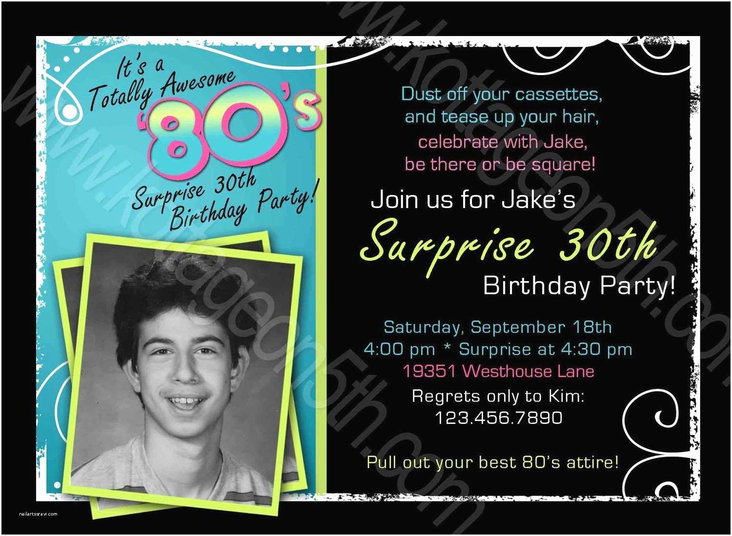 80 Birthday Invitations Items Similar To Totally Awesome 80s Adult Men S Or