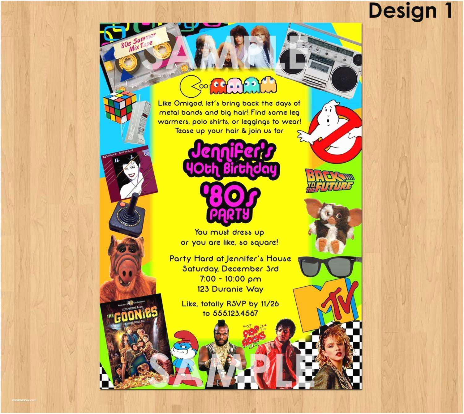 80s Party Invitations 40th Birthday Party Invitations for Him Elegant 80s Party