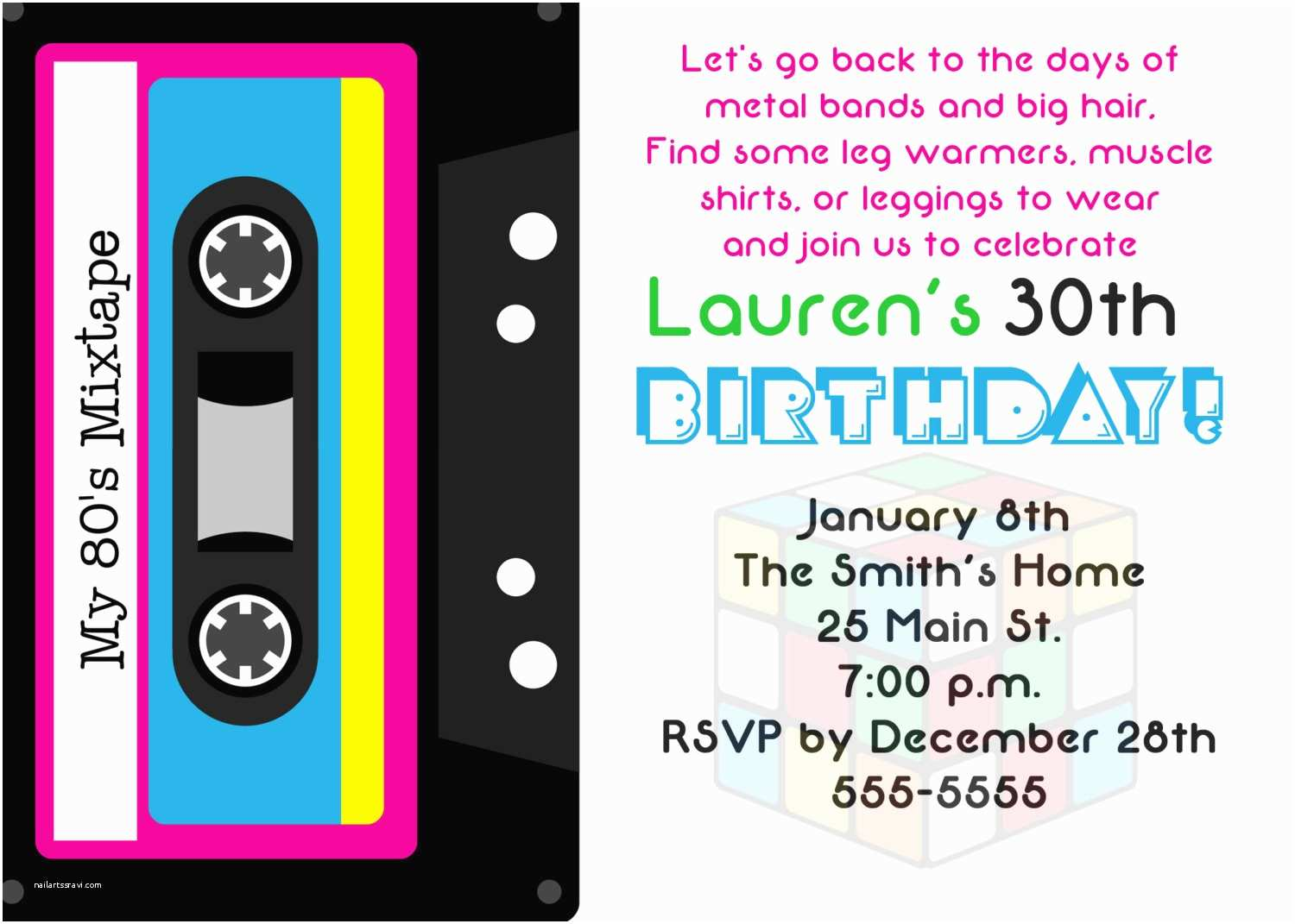 80s Party Invitations Theme Birthday
