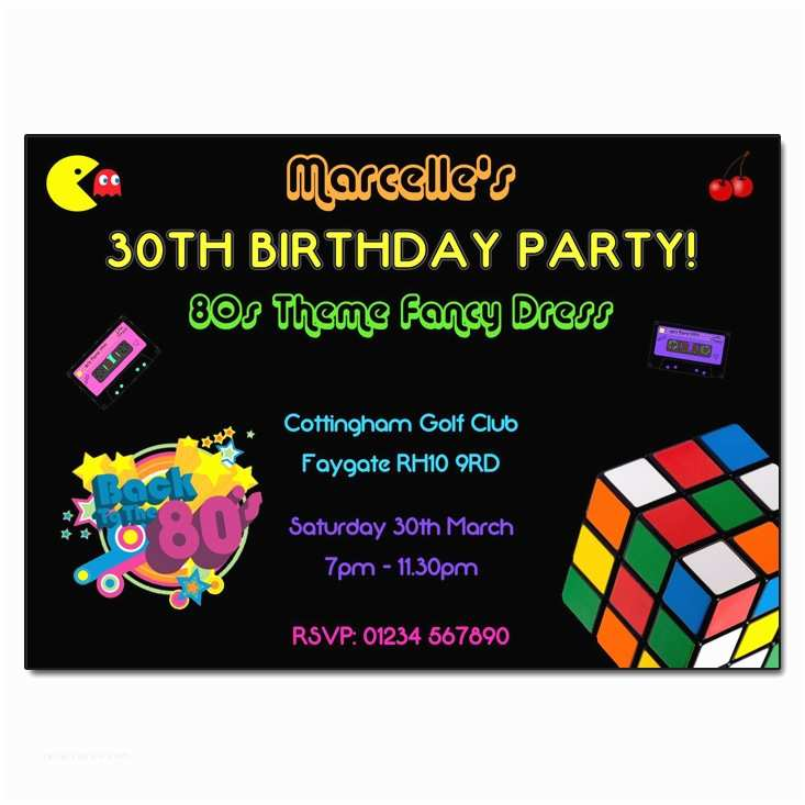 80s party invitations 80s party invitation printable or printed with