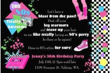 80s Party Invitations Theme Invitation Wording A Birthday