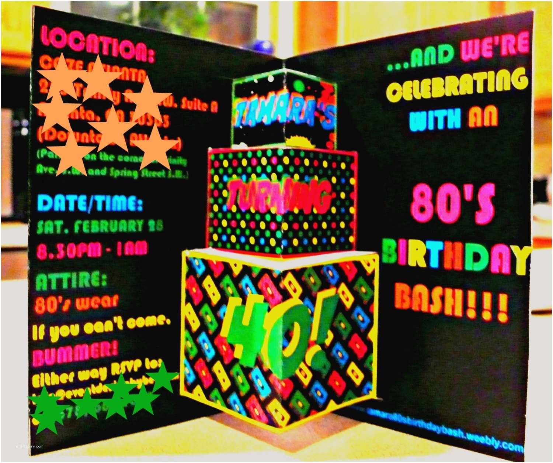 80s Party Invitations Theme Invite Pop Up Invitation Card Retro