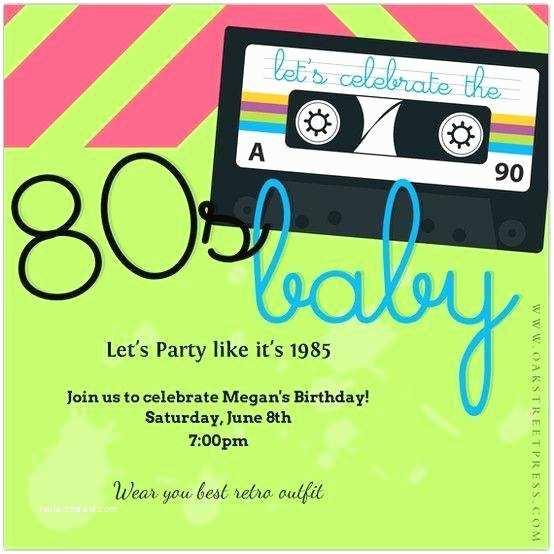 80s Party Invitations 80s themed Birthday Party Invitations A Birthday Cake
