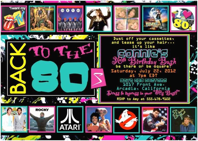 80s Party Invitations Template Free 80 S Party Invitation by ashleyspartypretties On Etsy