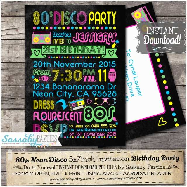 80s Party Invitations Template Free Neon Birthday Invitation