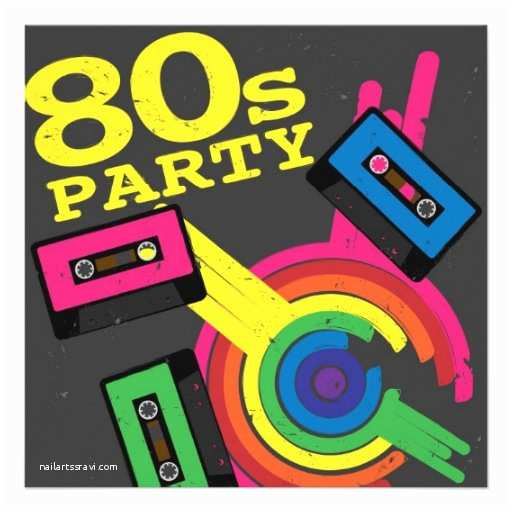 80s Party Invitations Template Free 80s Party 5 25x5 25 Square Paper Invitation Card