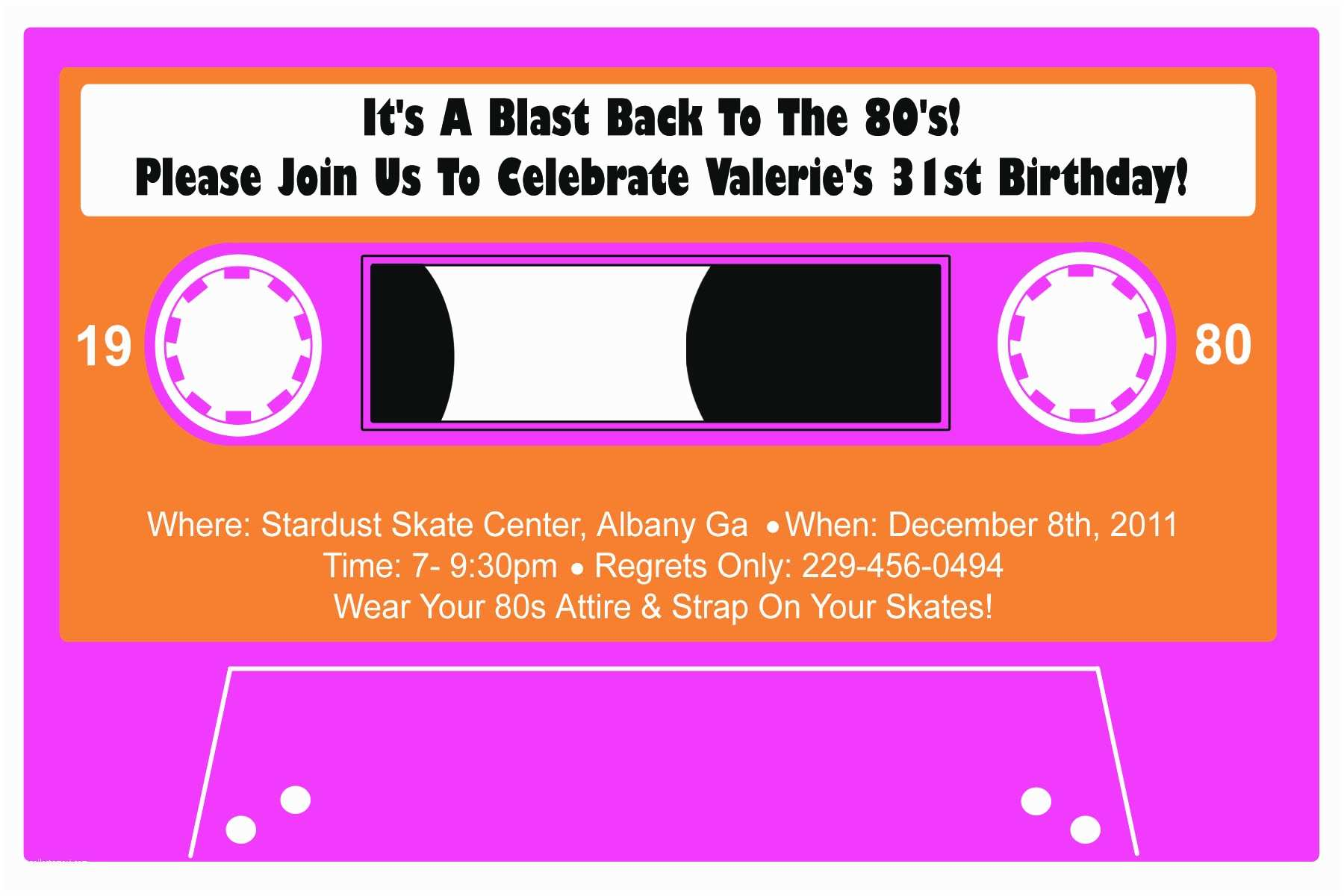 80s Party Invitations Template Free 80s Party Invitation Template