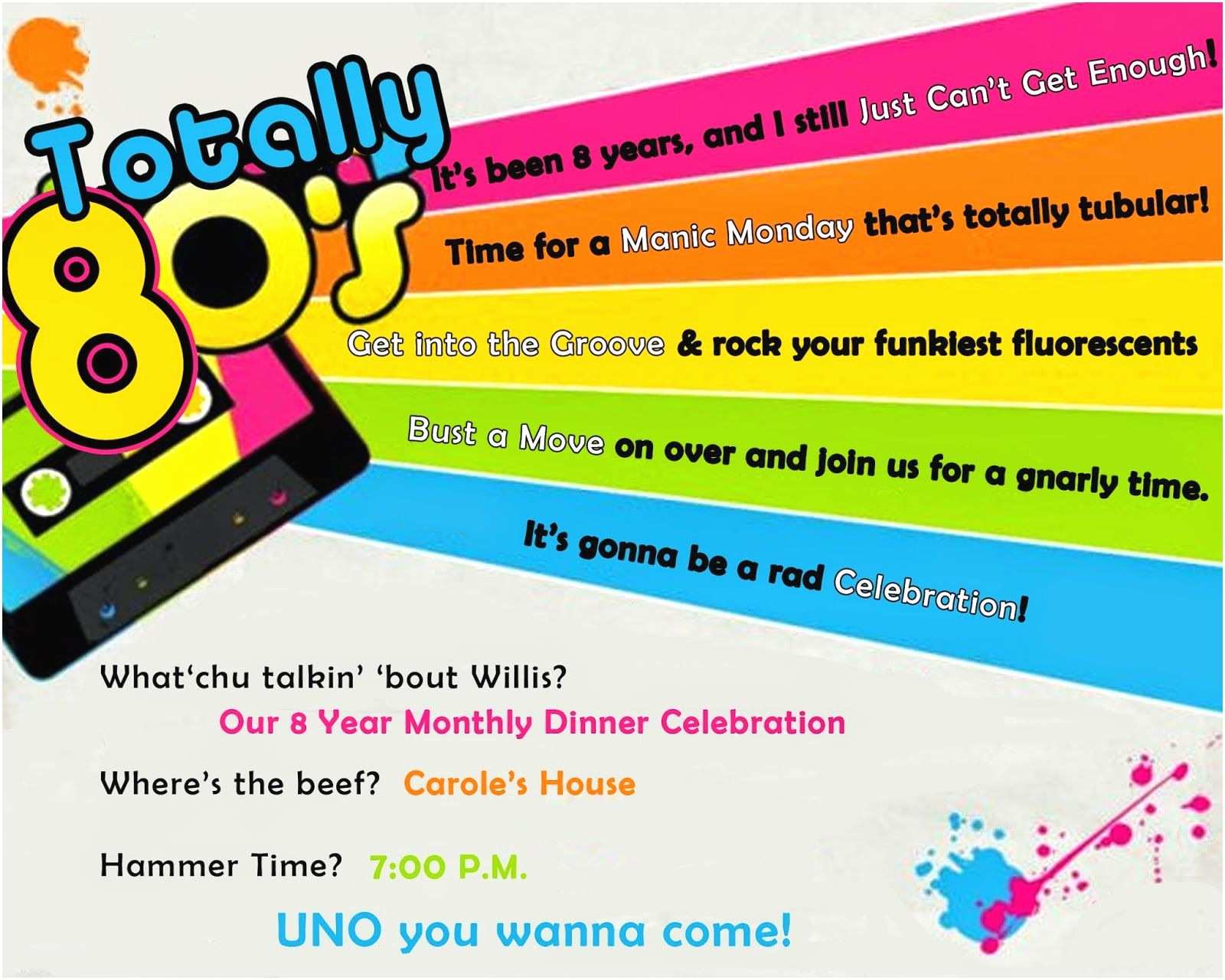 80s Party Invitations Template Free totally 80 S Party Invite