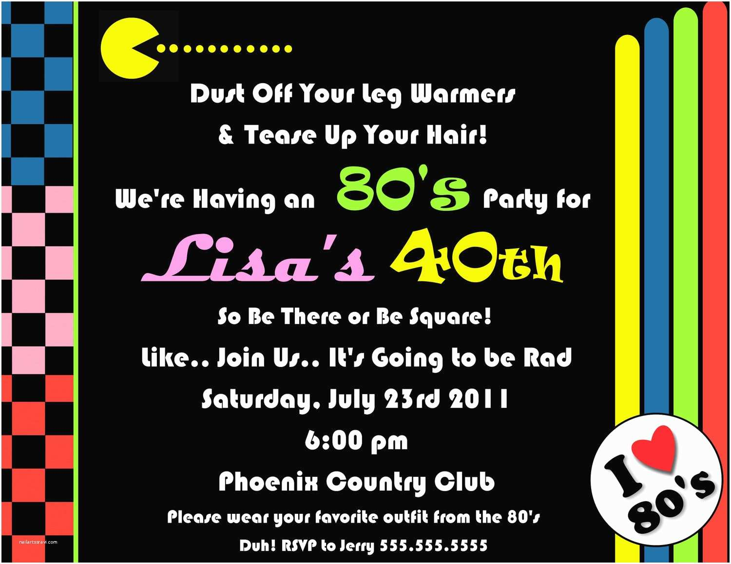 80s theme Party Invitations 80 S Pac Man Digital Party Invitation
