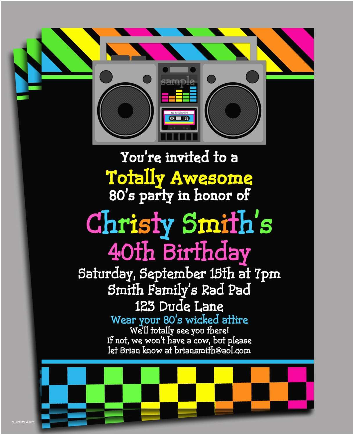 80s theme Party Invitations 80s Party Invitation Printable or Printed with Free Shipping